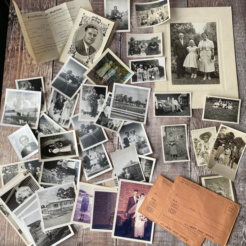Vintage photographs and army post office envelopes etc (C2)