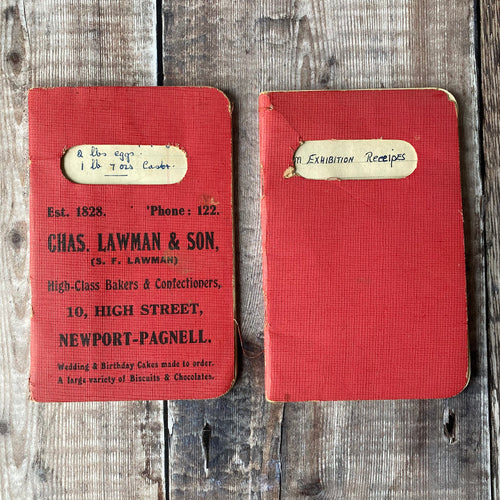 Two handwritten recipe books.  Exhibition Recipes for fruit cake, scones, buns, rock cakes etc.
