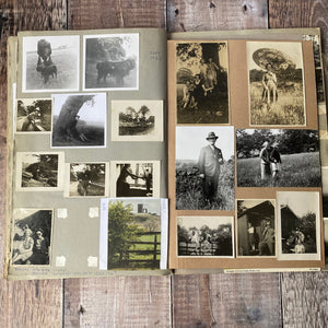 Large scrapbook full of photos relating to holidays Bradgate Park Leicestershire in the 1930s, 40s, 50s.  Pastel sketches etc.