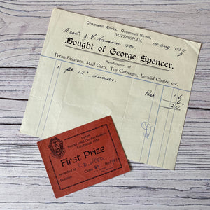 SALE Selection of Ephemera - photos, bill of sale, baking first prize card and letters
