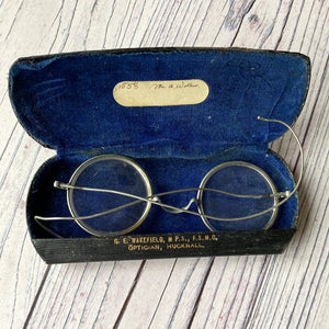 Vintage wire frame spectacles, early 20th century with case (1920s?)