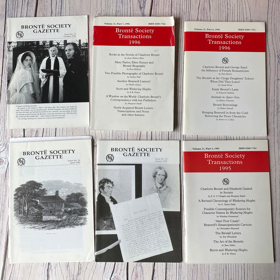 SALE Brontë Society Transactions & Gazette 1995 & 1996 (6 issues + conference form/letter)