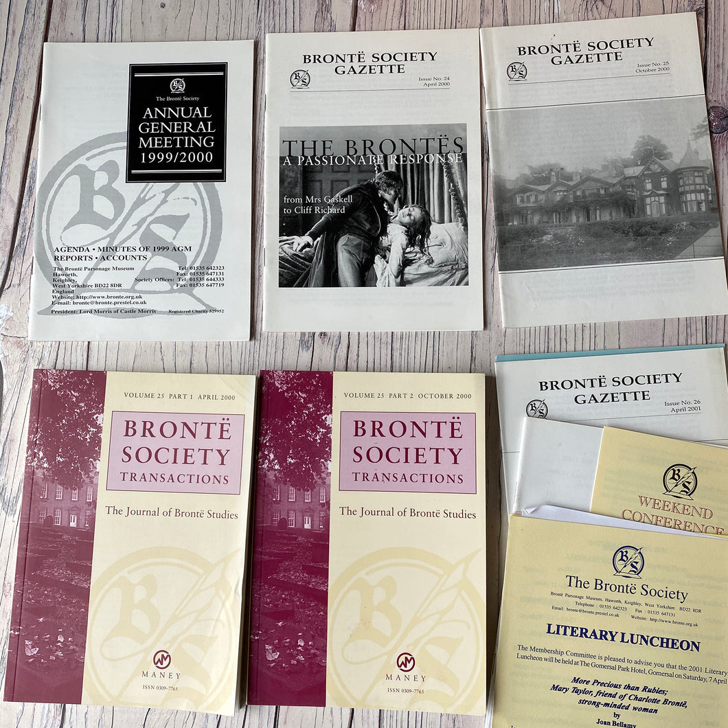 SALE Brontë Society Transactions & Gazette 2000 & 2001 (5 issues & AGM booklets, letters, leaflets etc)