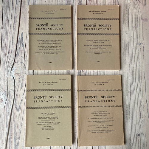 SALE Brontë Society Transactions 1980, 1981, 1982, 1983 (4 issues)