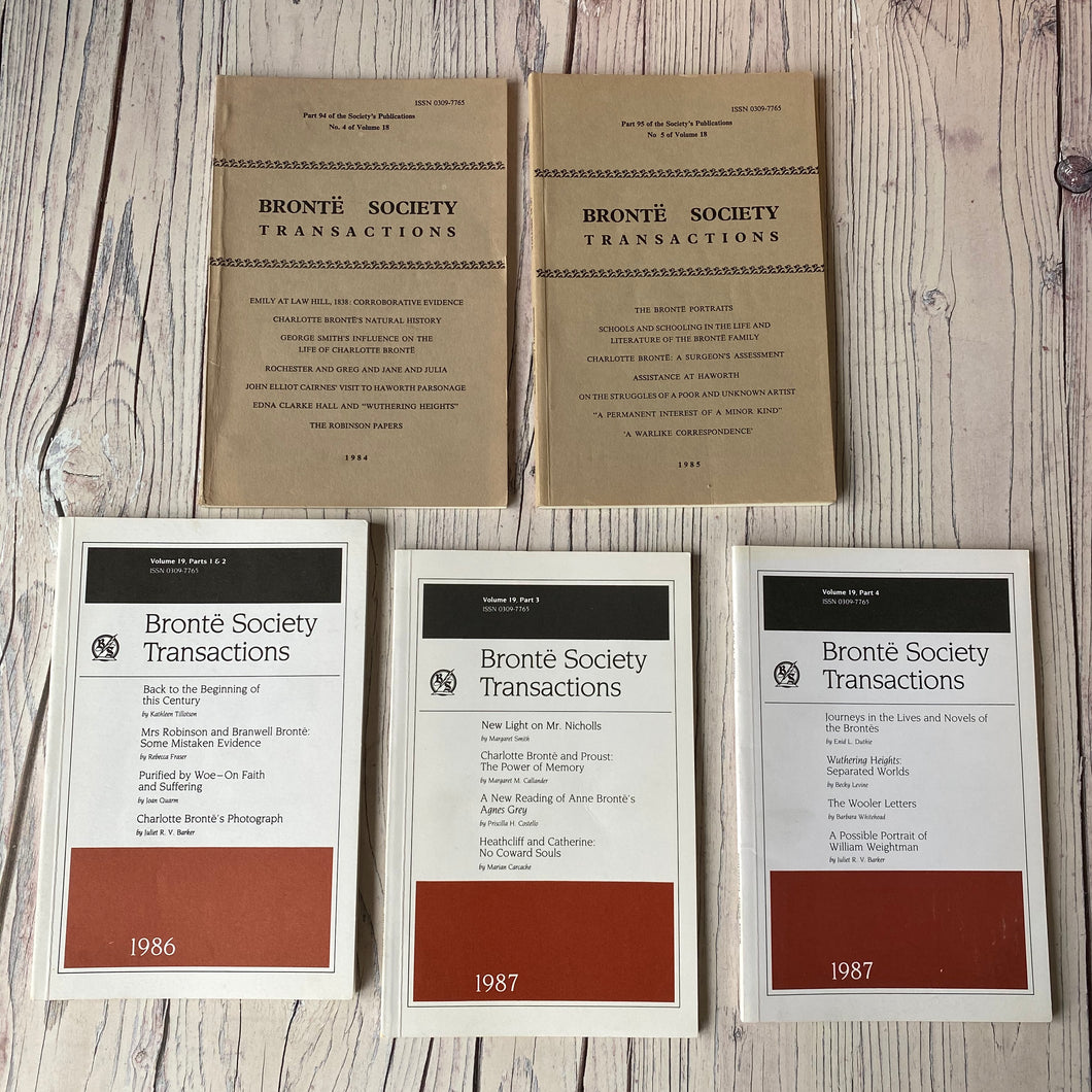 SALE Brontë Society Transactions 1984, 1985, 1986, 1987 (5 issues)
