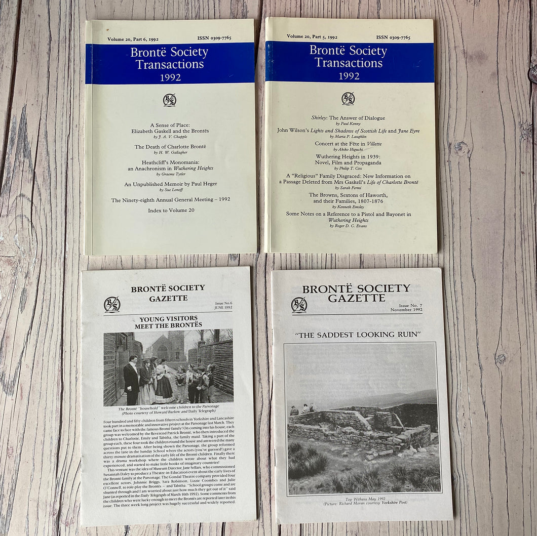 SALE Brontë Society Transactions & Gazette 1992 (4 issues)