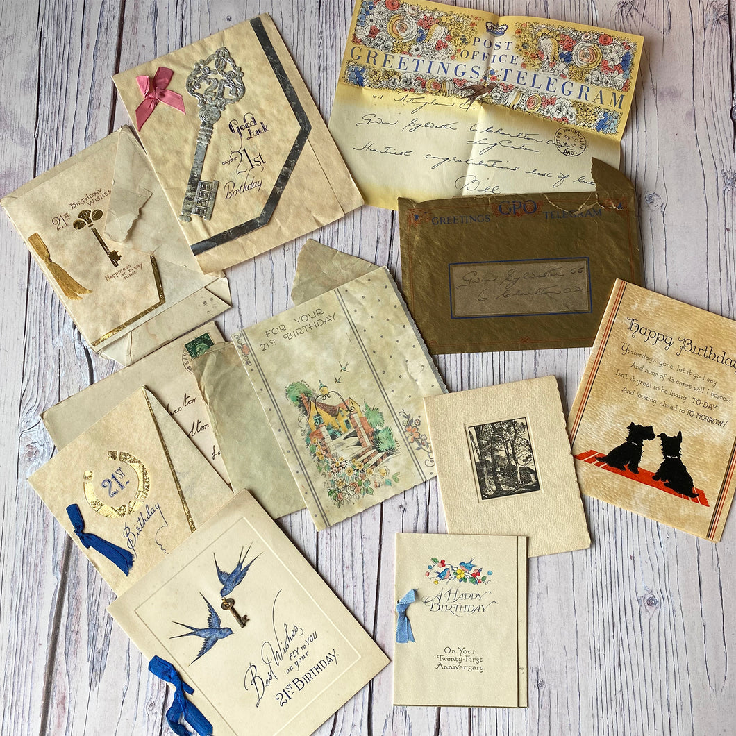 Vintage 21st Birthday cards (and a telegram) from 1937