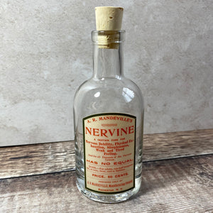 Apothecary bottle 200ml heavyweight glass with cork top and vintage label