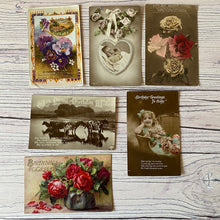 Load image into Gallery viewer, SALE Postcards (vintage unused x 6) birthday, baby, flowers (early 20th century)