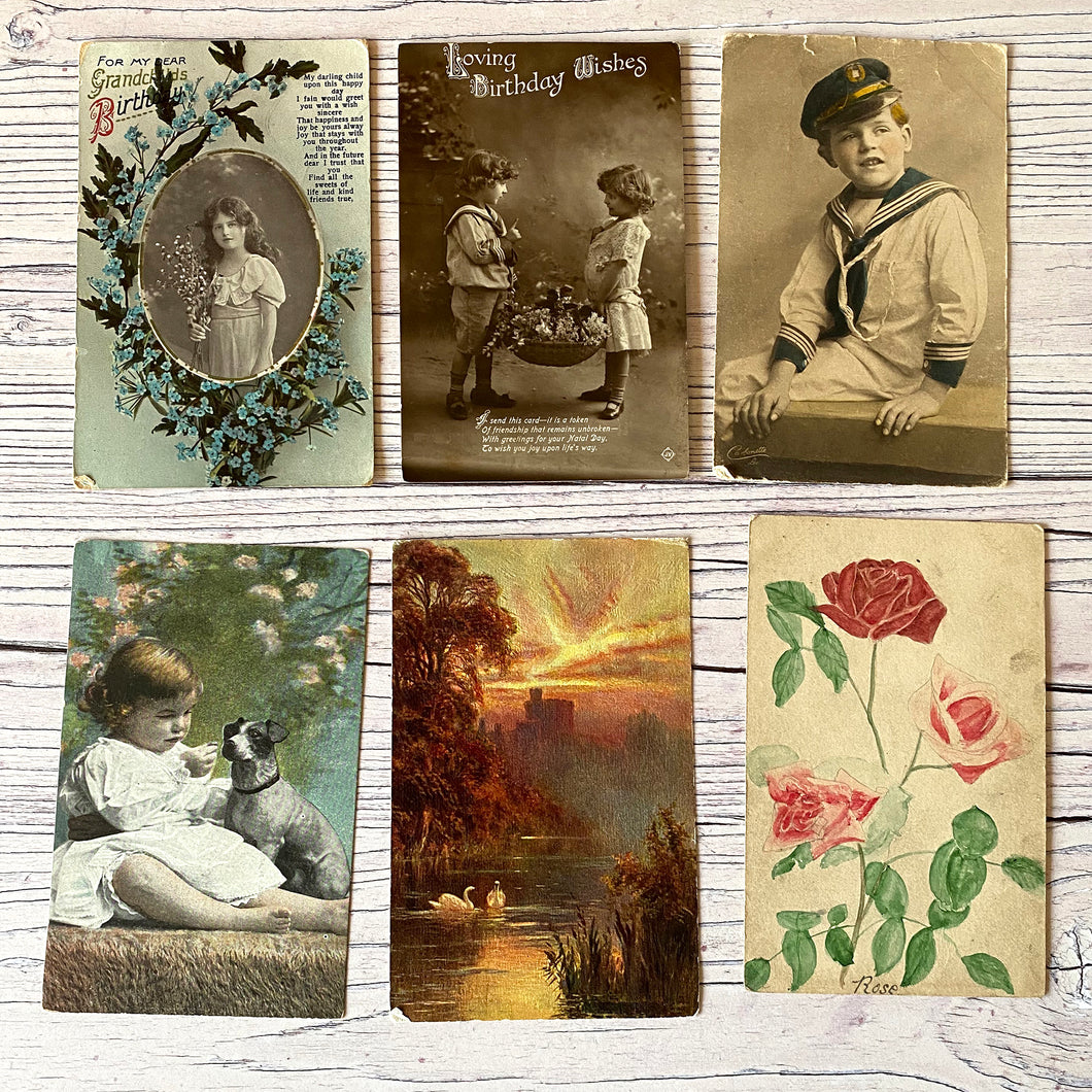 Postcards (vintage unused x 6) landscape, portraits, children, roses, birthday (early 20th century)
