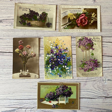 Load image into Gallery viewer, SALE Postcards (vintage used x 6) flowers, birthday, violets, roses, early 20th century)