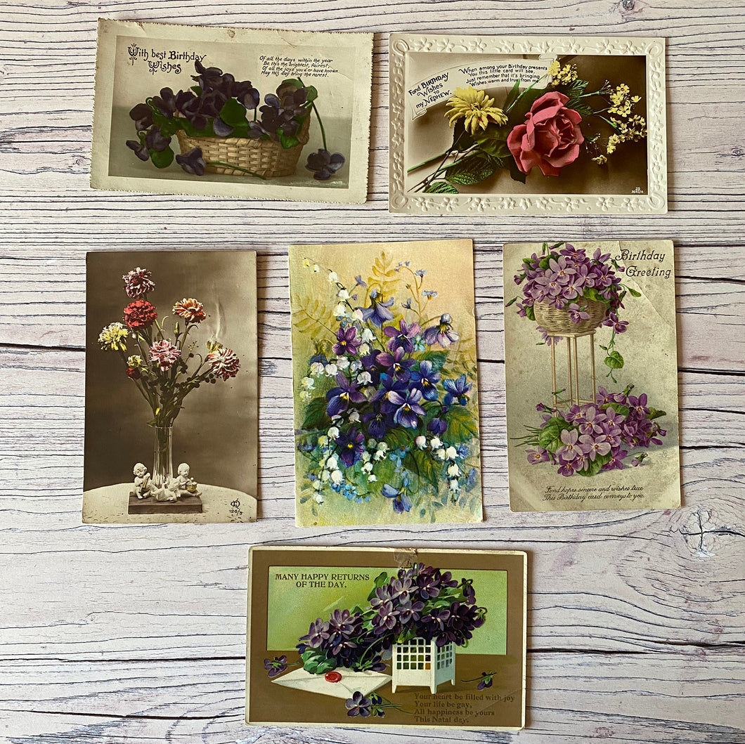 SALE Postcards (vintage used x 6) flowers, birthday, violets, roses, early 20th century)