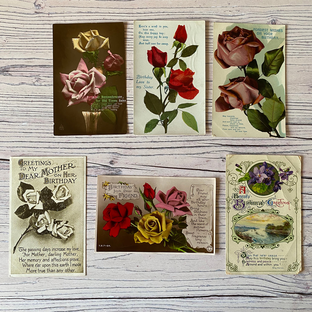 SALE Postcards (vintage used x 6) flowers, birthday (early 20th century)