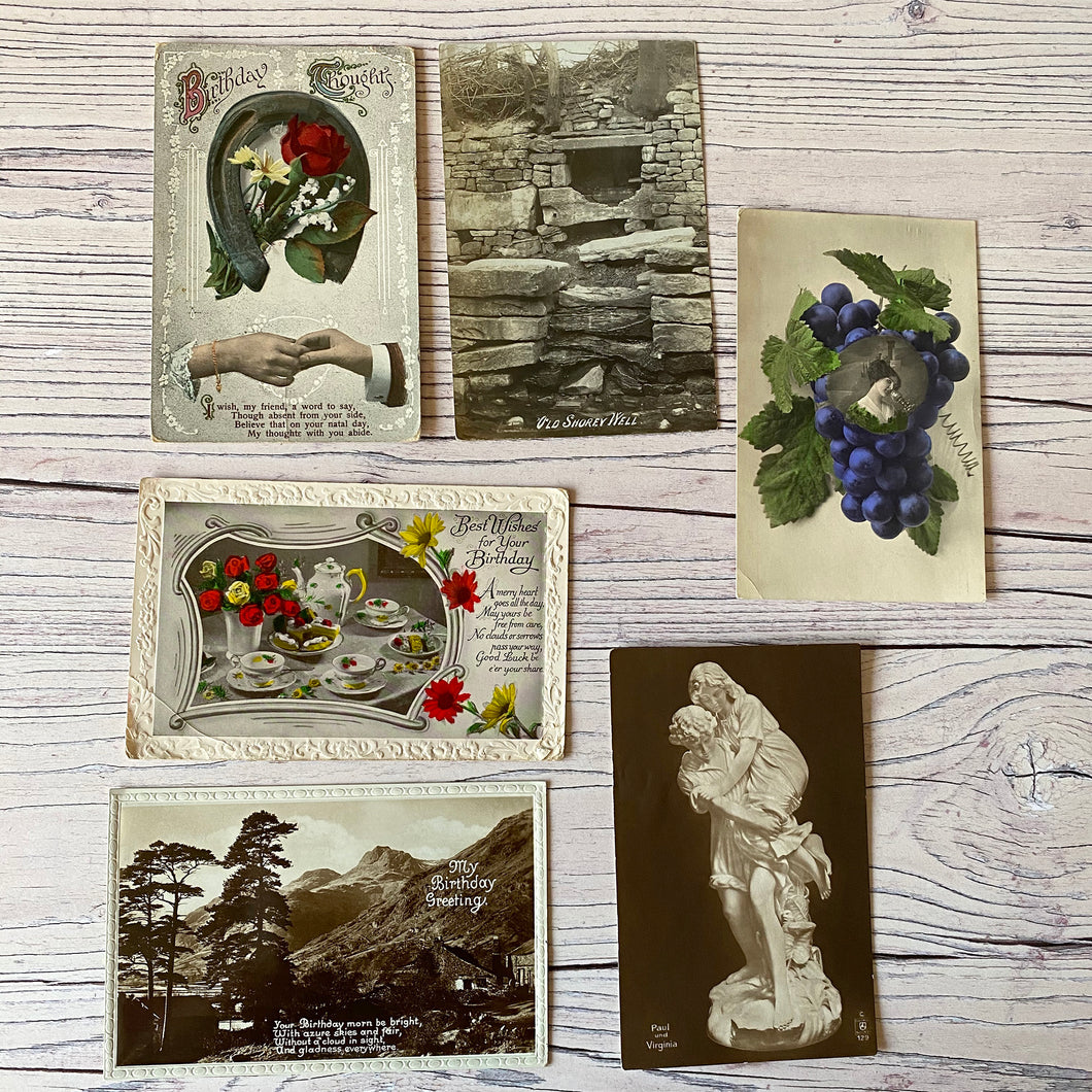 SALE Postcards (vintage used x 6) birthday, tea set, grapes, old shorey well (early 20th century)