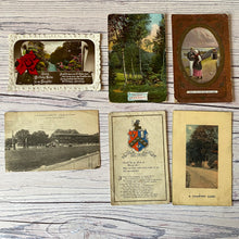 Load image into Gallery viewer, SALE Postcards (vintage used x 6) racecourse, landscapes, trees, birthday, roses (early 20th century)