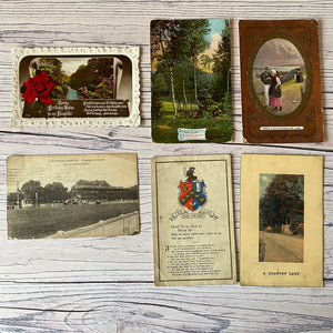 SALE Postcards (vintage used x 6) racecourse, landscapes, trees, birthday, roses (early 20th century)