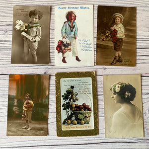 SALE Postcards (vintage used x 6) portraits, birthday, flowers (early 20th century)