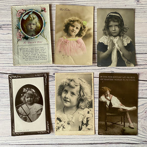 SALE Postcards (vintage used x 6) Edwardian children (early 20th century)