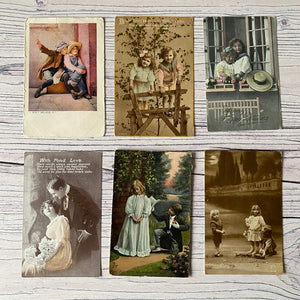 Postcards (vintage used x 6) Birthday, Edwardian children & other (early 20th century)