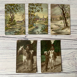 Postcards (vintage used x5) set of landscape scenes and pair of horse and rider images