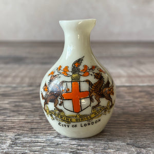 SALE Small crested china vase.  City of London coat of arms.  Alexandra china.