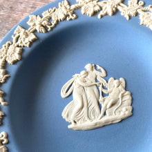 Load image into Gallery viewer, Small Wedgewood pin dish.  Blue with white decoration, classical scene.