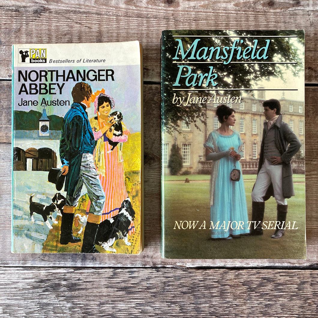 Jane Austen paperback novels.  Northanger Abbey (Pan) and Mansfield Park (tv tie-in).