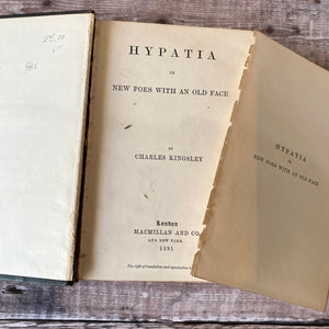 Hypatia by Charles Kingsley 1891 leather bound school prize.