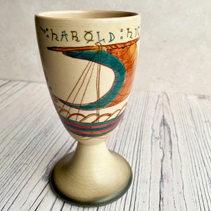 Bayeux Tapestry decorated goblet pottery, signed.