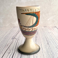 Load image into Gallery viewer, Bayeux Tapestry decorated goblet pottery, signed.