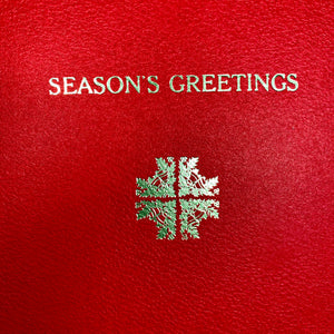 5 pack of Christmas cards. Traditional hot foil letterpress printed with Season's Greetings and a snowflake/cross design made from rearranged corner ornaments featuring holly and bells.