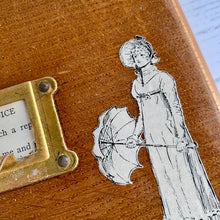 Load image into Gallery viewer, Pride and Prejudice - Jane Austen mixed media wall art.  Vintage library index drawer front with 1929 edition illustration.