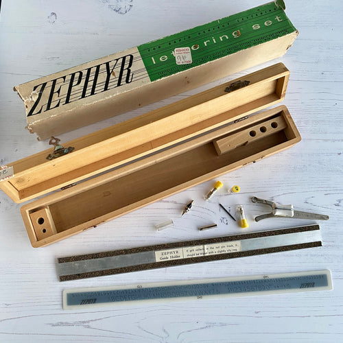 Zephyr lettering set.  Vintage boxed with original packaging.