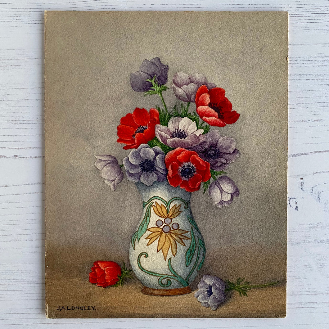 Anemones in vase original small floral painted picture from 1962.  J. A. Longley.