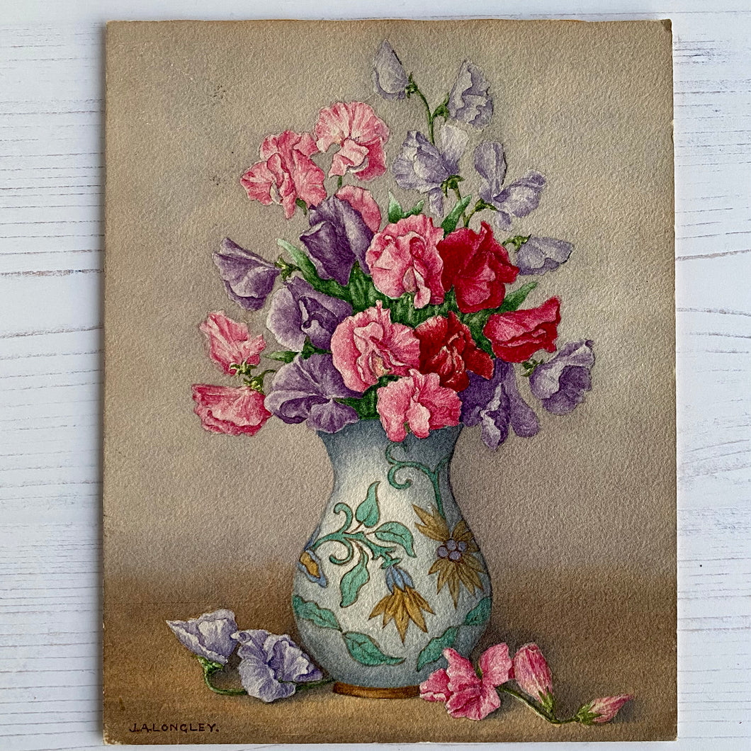 Sweet Peas in vase original small painted picture from 1962.  J. A. Longley.