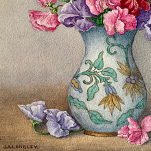 Load image into Gallery viewer, Sweet Peas in vase original small painted picture from 1962.  J. A. Longley.