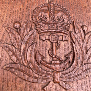 Royal Navy vintage carved plaque with crown and anchor.