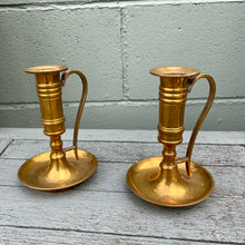 Load image into Gallery viewer, Brass vintage candlesticks / chamber sticks.
