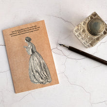 Load image into Gallery viewer, Jane Eyre lends a book funny card with glass inkwell and a dip pen.