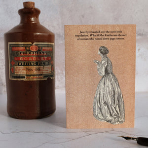 Stone ink bottle with a Jane Eyre themed card.