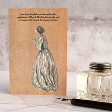Load image into Gallery viewer, Jane Eyre funny card with ink well and dip pen.