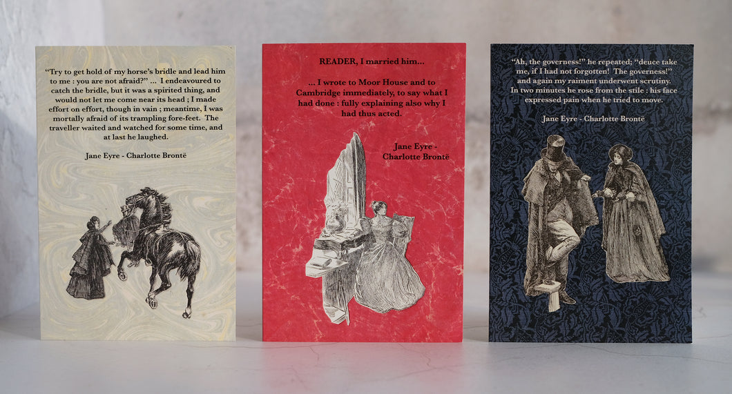Set of three Jane Eyre quotation cards.