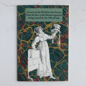 Sale shopping humour card featuring Lydia Bennet from Jane Austen's Pride & Prejudice.