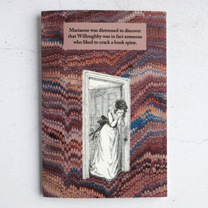 Sense & Sensibility Jane Austen book humour card - cracked book spine!