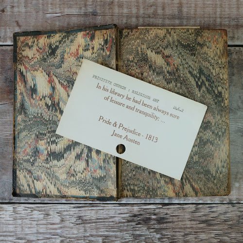 Vintage library index card bookmark. Pride & Prejudice library quote.