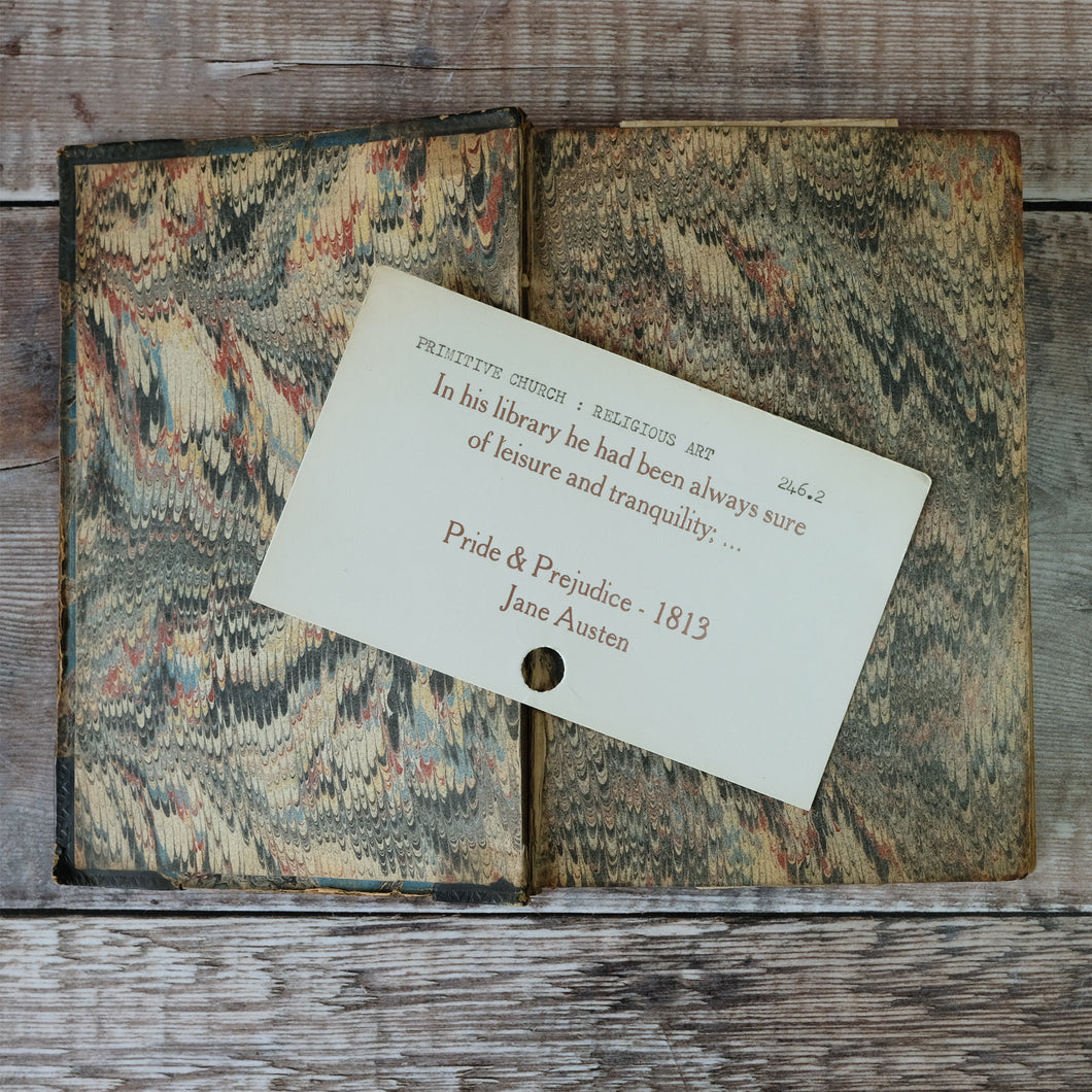 SALE Vintage library index card bookmark. Pride & Prejudice library quote.