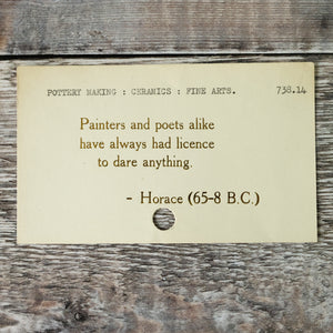 Vintage library index card bookmark. Creative quotation by Horace.