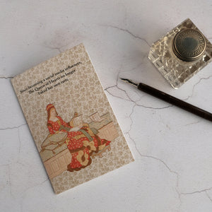 The Queen of Hearts humour card and glass inkwell with dip pen.