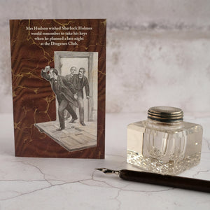 Sherlock Holmes card and glass inkwell.