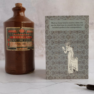 Stone ink bottle and Pride and Prejudice card.
